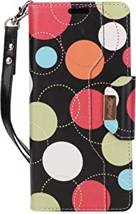 ProCase Galaxy Note 8 Wallet Case, Flip Kickstand Case with Card Slots Mirror Wristlet, Folding Stand Protective Cover for Galaxy Note 8 2017 -Circles