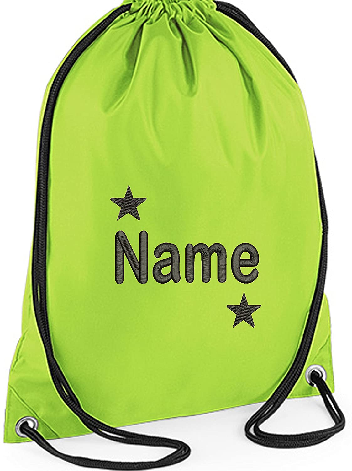 Unisex Embroidered Personalised STAR Drawstring Gym Bag Any Name School Nursery Swim