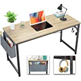 Foxemart Computer Desk Modern 39 Inch Writing Study Desk Simple PC Laptop Notebook Table with Storage Bag and Iron Hook for H