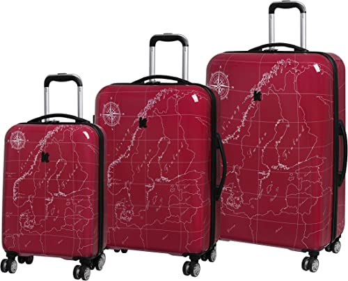 it luggage Imprint 8 Wheel Expandable 3 Piece Set, Norway Map-Red