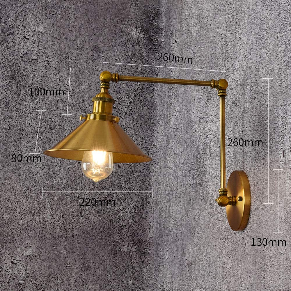Retro E26 Adjustable Aluminum Wall Sconce For Living Room Bedroom Reading Lamp Golden 18x22cm 7x9inch Cuican Industrial Hardwired Swing Arm Wall Lamp Lamps Light Fixtures Tools Home Improvement Urbytus Com