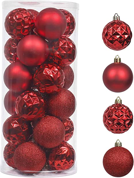 Amazon Com Valery Madelyn 24ct 60mm Christmas Ball Ornaments Red Decoration Shatterproof Plastic Xmas Christmas Tree Ornaments Balls Themed Tree Skirt Not Included Kitchen Dining