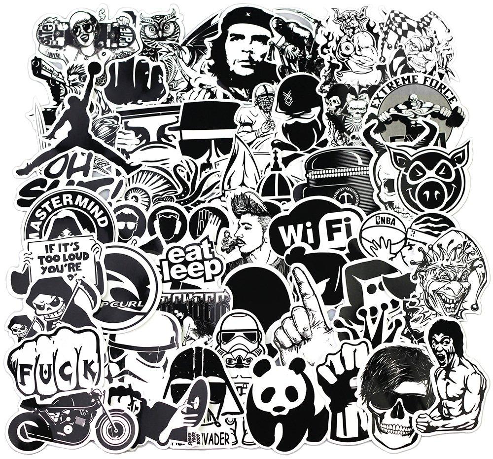Autocollant Lot Pack [120pcs], Sanmatic Stickers Autocollants Noir et Blanc Vinyle pour Ordinateur Portable, Voitures, Moto, Bicyclette, Bagages Skateboard, Autocollants pour Voiture Stickers Hippie bombe É tanche