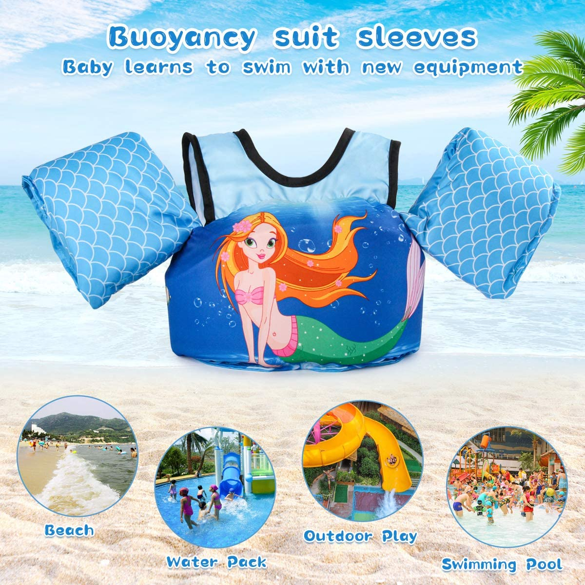 kacai Swim Float Vest for Kids Swim Training Jacket for 2-6 Years Old Boys and Girls14-23KG,Swim Arm Floats Bands Swim Training Aids for Toddler//Child