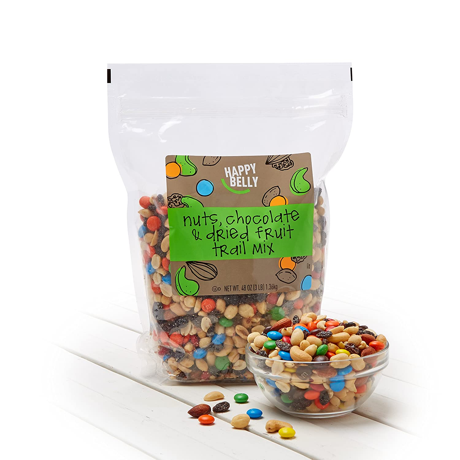 Amazon Brand - Happy Belly Nuts, Chocolate & Dried Fruit Trail Mix, 48 oz