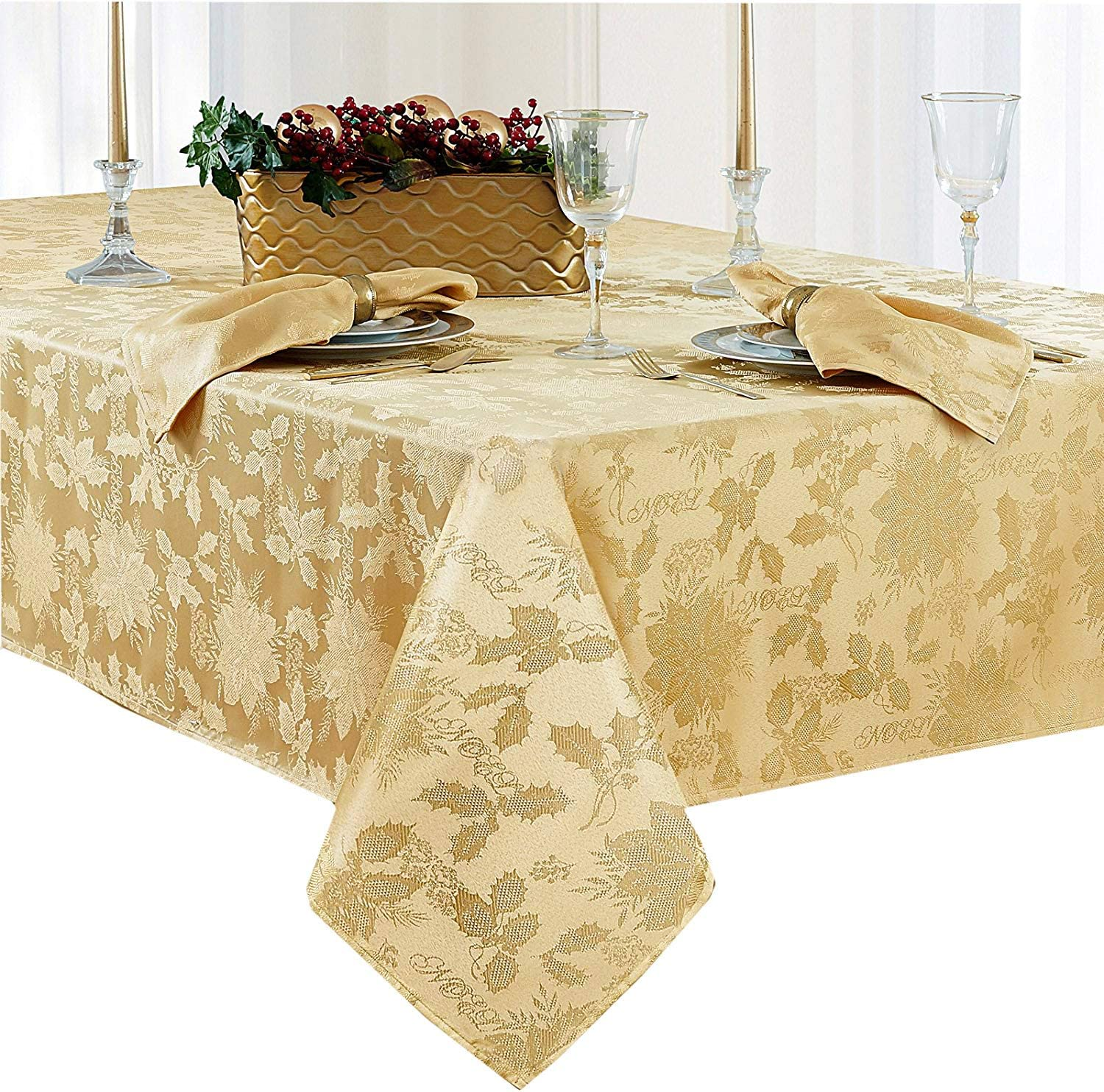 Newbridge Christmas Carol Damask No Iron Soil Release Holiday Tablecloth, 60 x 84 Inch Oblong, Gold