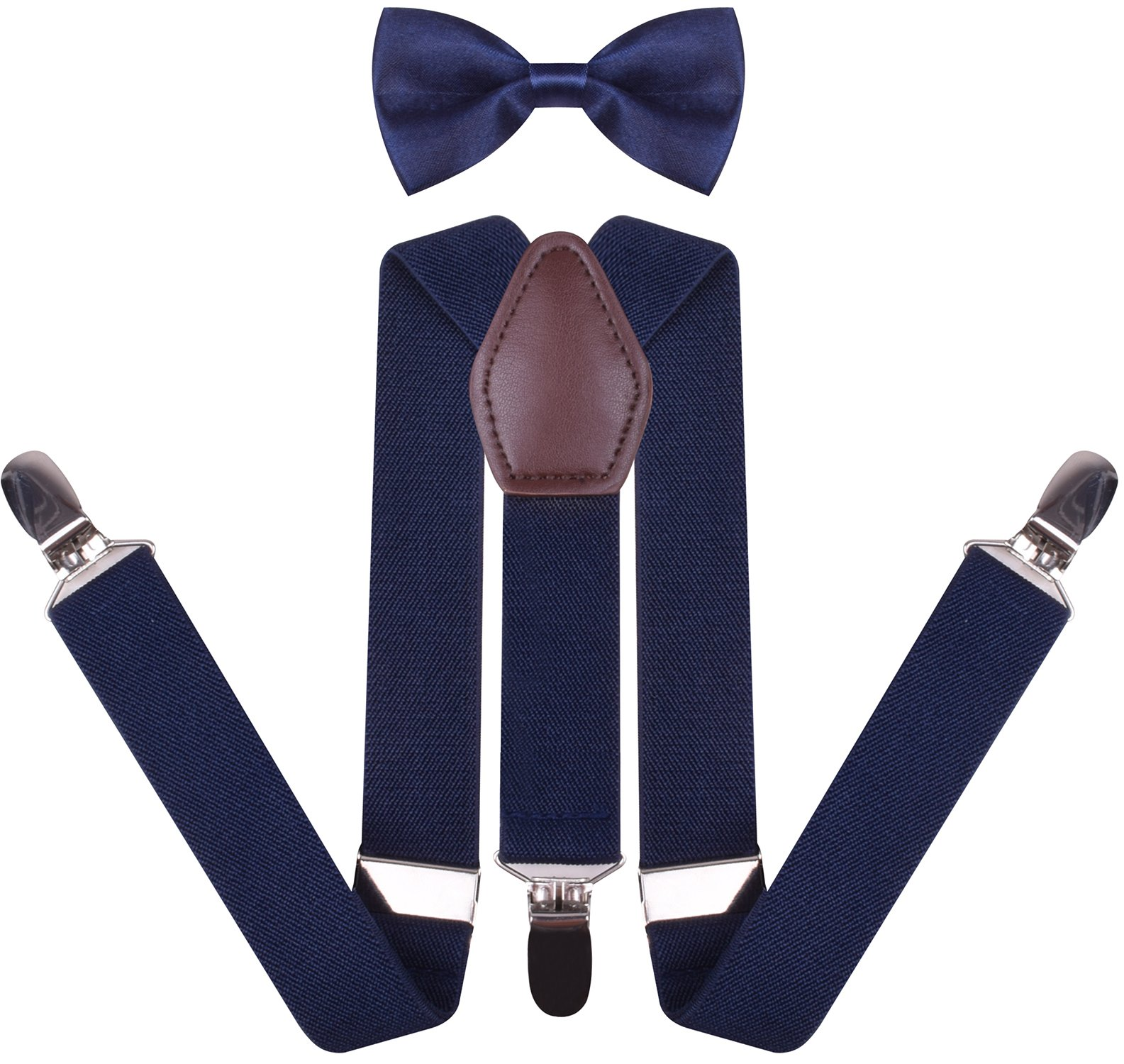 YJDS Boys' Leather Suspenders and Pre Tied Bowtie Set Navy 22 Inches