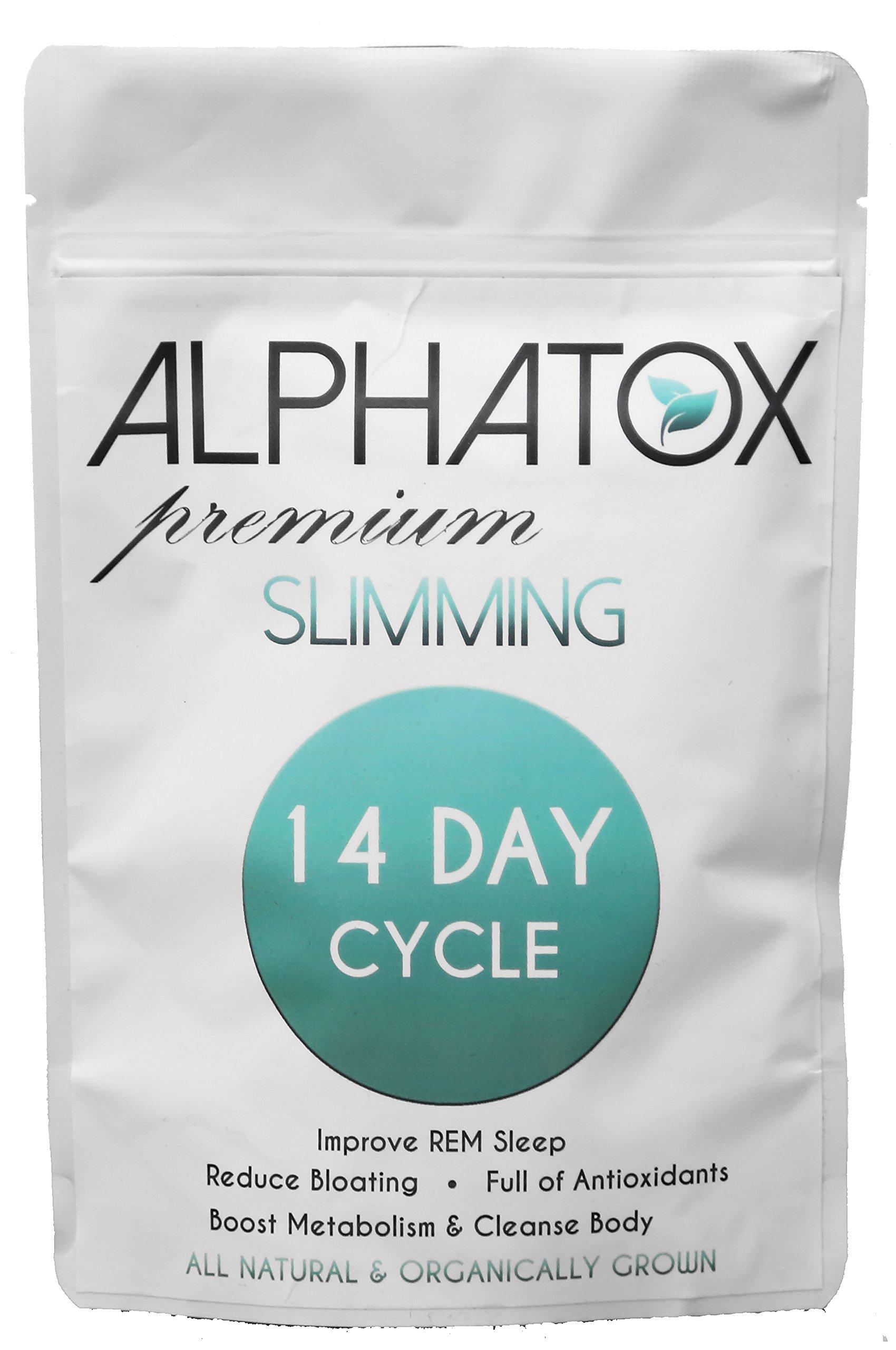 Alphatox 14 Day Premium Slimming Tea Cycle | Lose Weight Naturally, Reduce Bloating and Improve Rem Sleep | 14 Herbal Tea Bags | Organic Tea | Full of Anti-Oxidants