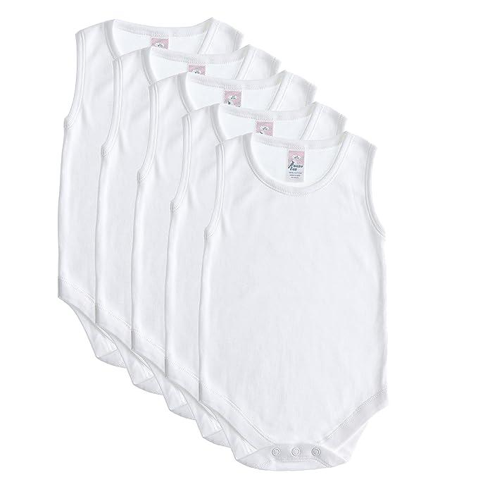 Amazon.com: 5 Pack bebé y sin mangas Onesies, algodón suave ...