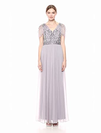 d9983dcceb Adrianna Papell Women s Beaded Bodice Flutter Sleeve Chiffon Gown at ...