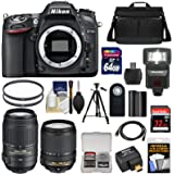 Nikon D7100 Digital SLR Camera with 18-140mm & 55-300mm VR Lenses, WU-1a, Bag + 32GB & 64GB Card + Battery + Flash + Filters + Remote + Tripod + Kit