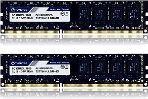 Timetec Hynix IC 16GB KIT (2x8GB) DDR3L / DDR3 1600MHz PC3L-12800 / PC3-12800 Non-ECC Unbuffered 1.35V / 1.5V CL11 2Rx8 Dual Rank 240 Pin UDIMM Desktop Memory Ram Module Upgrade (16GB KIT(2x8GB))