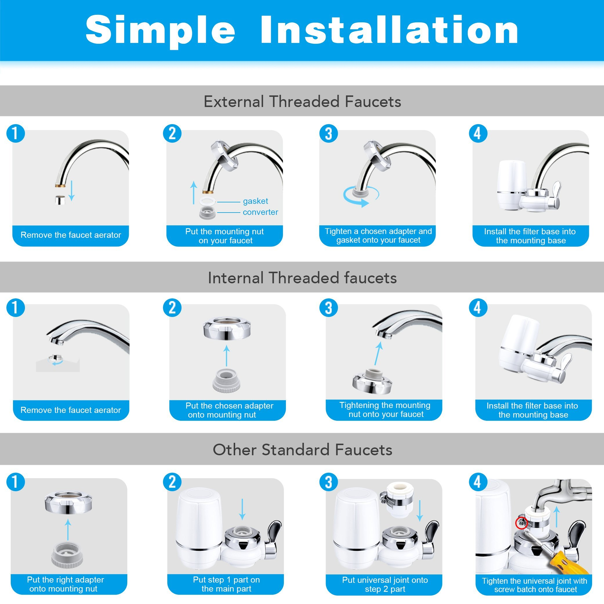 Yimaler Faucet Water Filter, On Tap Water Faucet Filtration System with 0.01 Micron 7 Stage Filtration Ceramics Filter for Home Kitchen Fits Standard Faucets Only White by Yimaler (Image #7)
