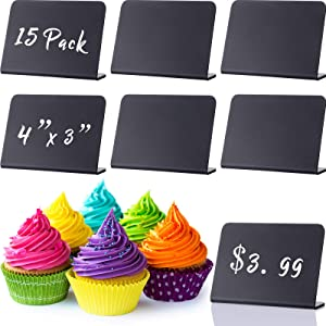 15 Pieces Mini Chalkboard Signs for Food, 4 x 3 Inch Small Chalkboard Signs Black Plastic Chalkboard Buffet Signs for Table Party Wedding Bakery, Message Board Signs for Liquid Chalk Markers and Chalk