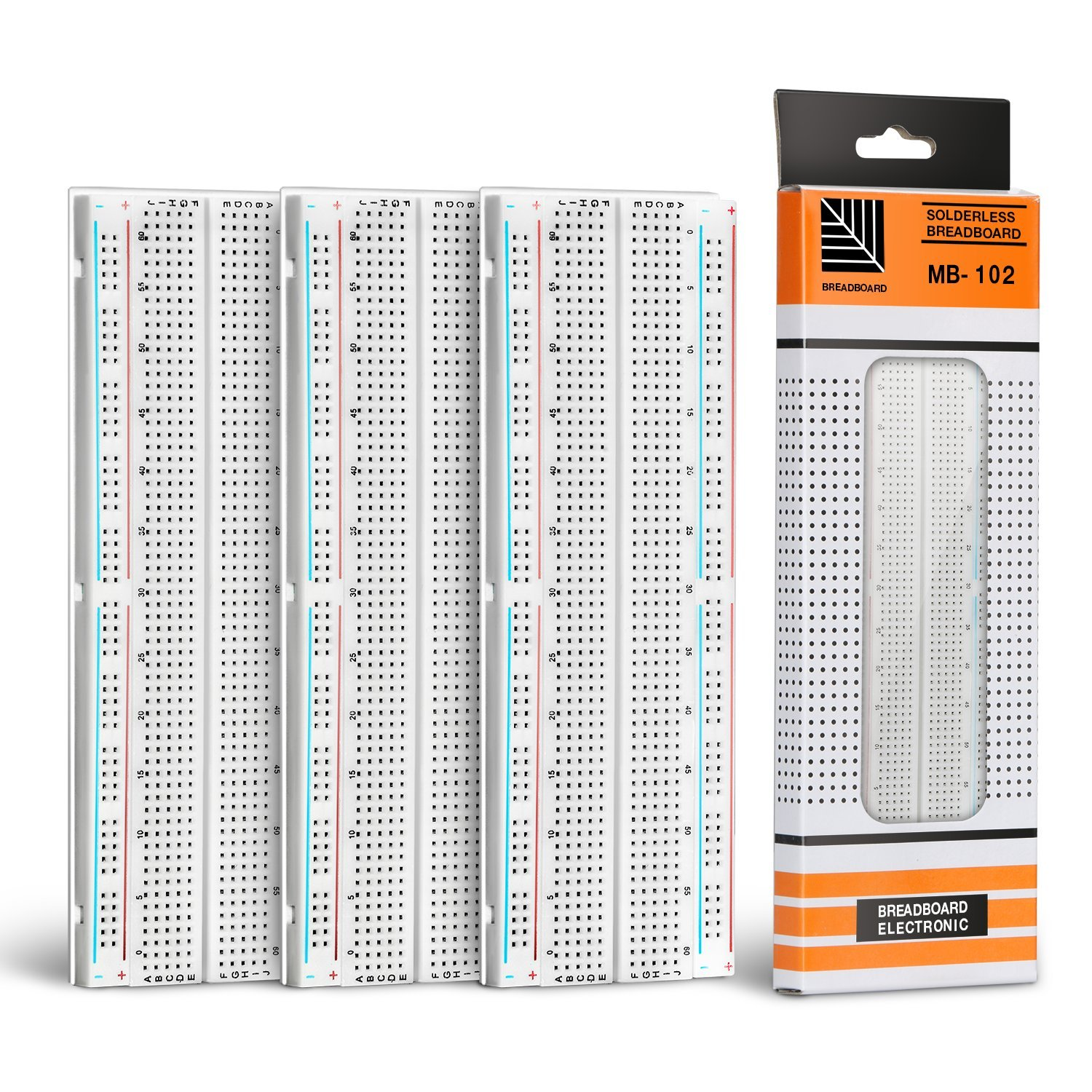 Jamber Solderless Breadboard 830 Point Clear Circuit Pcb Board Kit With 400 Tie Points And Matching For Protoshield Circboard Prototyping 3pcs Business Industry Science