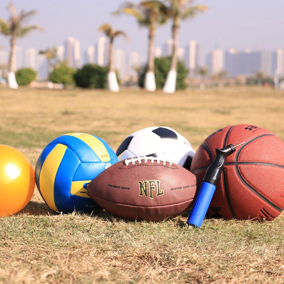 Rugby y otros art/ículos inflables Mejor para f/útbol Miracol Bomba de doble acci/ón 4 extra Agujas de recambio Voleibol Resistente Y Dise/ño port/átil bombas de aire