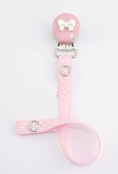 Chupete de niña con chupetero de clip, diseño con lacito, color rosa claro con