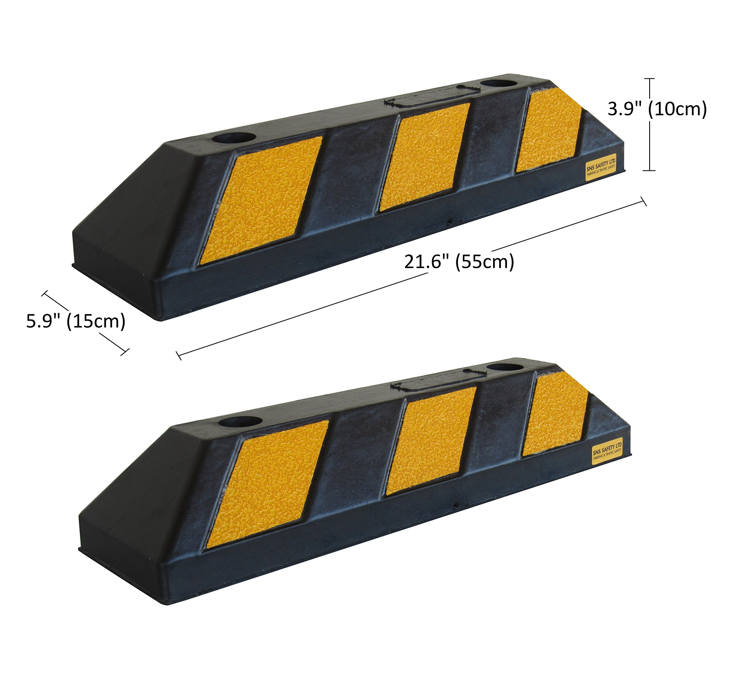 SNS SAFETY LTD RWS-4x2 Rubber Parking Wheel Stop for Commercial and Domestic Car Parks and Private Garages, Black and Yellow color, 21.6''x5.9''x3.9'' (55x15x10 cm) (pack of 2)