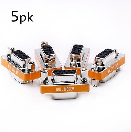 DB9 null modem adapter male to male slimline data transfer serial port adapter 5 Pack