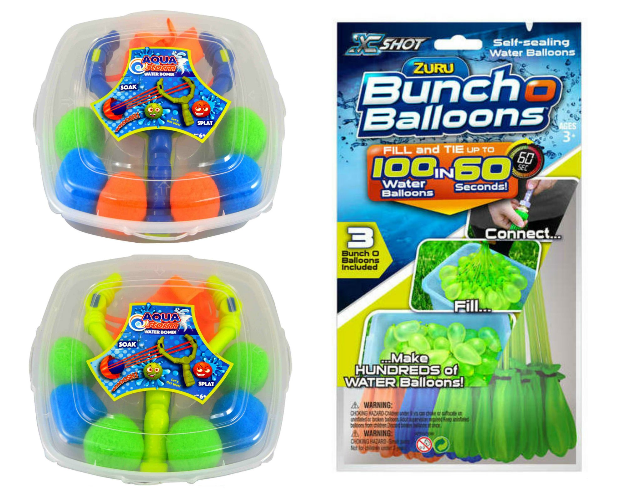 Water Balloons Bunch O Balloons Self Sealing with Water Balloon Slingshot Launcher Complete Gift Set Water Toys Bundle - 105 Total Zuru Quick Fill Water Balloons (Assorted Colors)