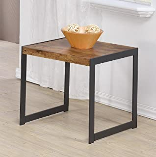 Coaster Rustic Antique Nutmeg End Table With Metal Base