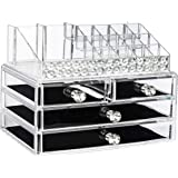 EC.TEAK Makeup Organizer 2 Pieces Acrylic Jewelry & Cosmetic Storage Display Boxes with Diamond Shape Handle (ET01)