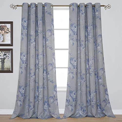 BUHUA Slub Looked Curtains Floral Flowers Printed Light Blocking Curtains Thermal Insulated Privacy Blinds for Dining Room 52Wx96L Inch Grey and Blue 1Pair