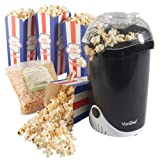 VonShef Fat-Hot Air Popcorn Maker 500g Popcorn Kernels + 4 Popcorn Boxes Included