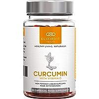 Curcumina Liquida Elixirvit con Vitamina D - 185x Più Biodisponibile della Tipica Curcuma/Curcumina - Subito Assorbibile per il Massimo Sollievo dal Dolore Articolare - 60 Capsule Curcumina NovaSOL