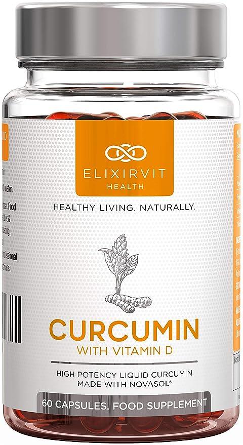 Elixirvit Curcumina líquida con vitamina D, 185 veces más biodisponible que la cúrcuma/curcumina
