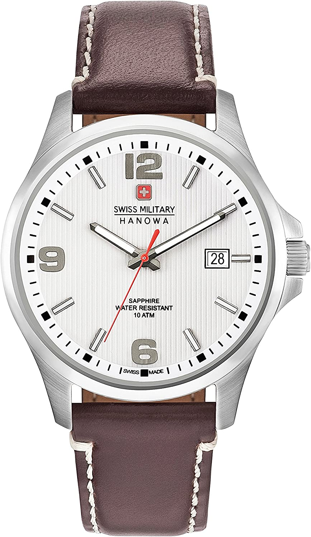 Swiss Military Hanowa Reloj Analógico para Hombre de Cuarzo con Correa en Cuero 06-4277.04.001