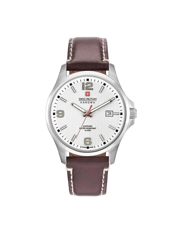 Swiss Military Hanowa–Reloj analógico de Cuarzo para Hombre con Correa de Piel 06–4277.04.001