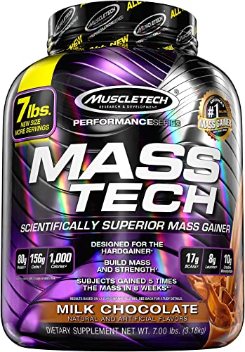 MuscleTech Mass Tech Mass Gainer Protein Powder, Build Muscle Size Strength with High-Density Clean Calories, Milk Chocolate, 7lbs 3.2kg
