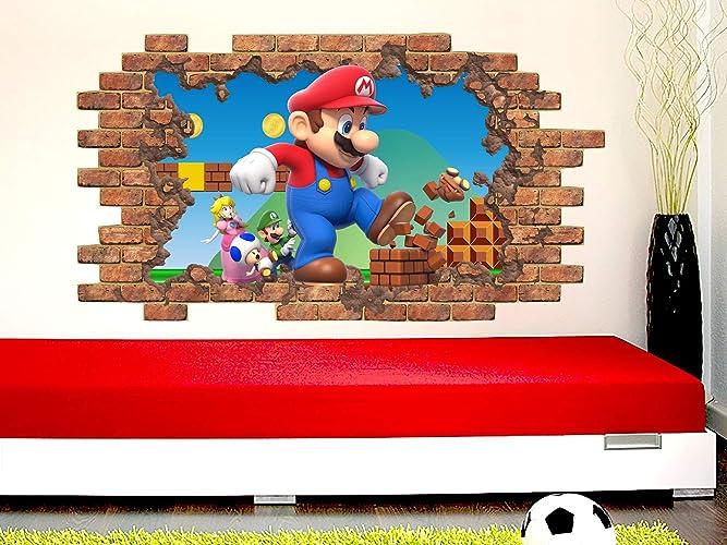 Amazon.com: Super Mario Wall Decal. Removable Vinyl Sticker ...