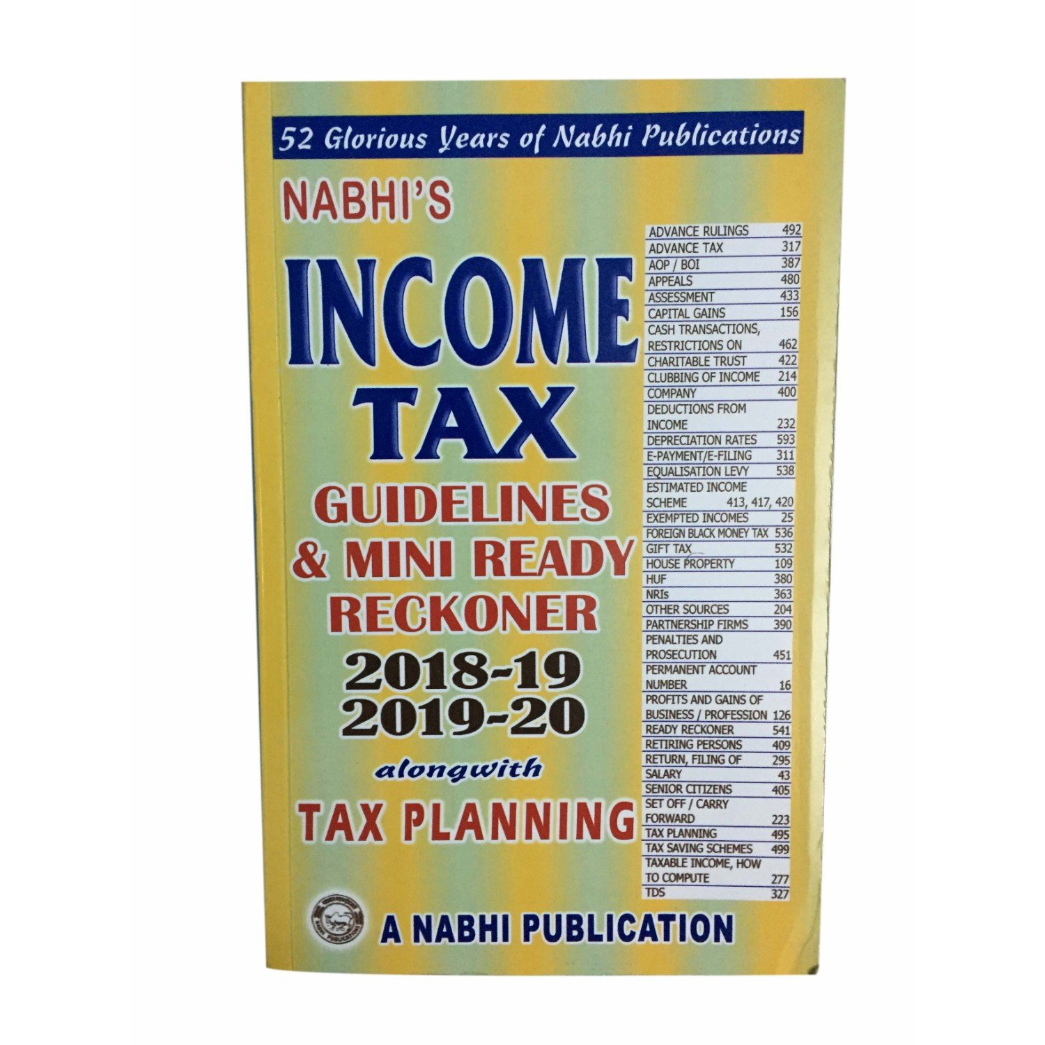 Nabhis Income Tax Guidelines Mini Ready Reckoner 2018 19 2019 20 Along With Planning Paperback