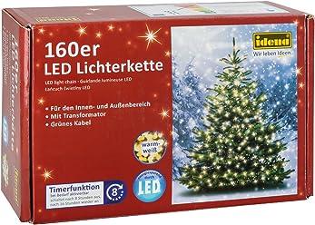 Idena LED Lichterkette 160er, ca. 23,90 m, für innen/außen, warm weiß