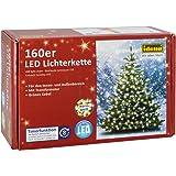 Idena 8325062 - Juego de luces led (160 bombillas, para interiores y exteriores, con transformador, 23,9 m), luz blanca
