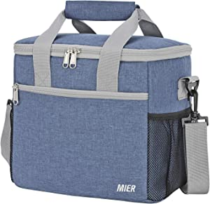 MIER 24 Can Large Capacity Soft Cooler Tote Insulated Lunch Bag Outdoor Picnic Bag, Bluesteel