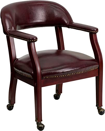 Flash Furniture Oxblood Vinyl Luxurious Conference Chair with Accent Nail Trim and Casters