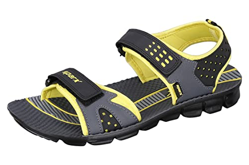 688965caedc89a Sparx Mens Black Yellow Colour SS908 Series Synthetic Casual Sandals 8UK   Amazon.in  Shoes   Handbags
