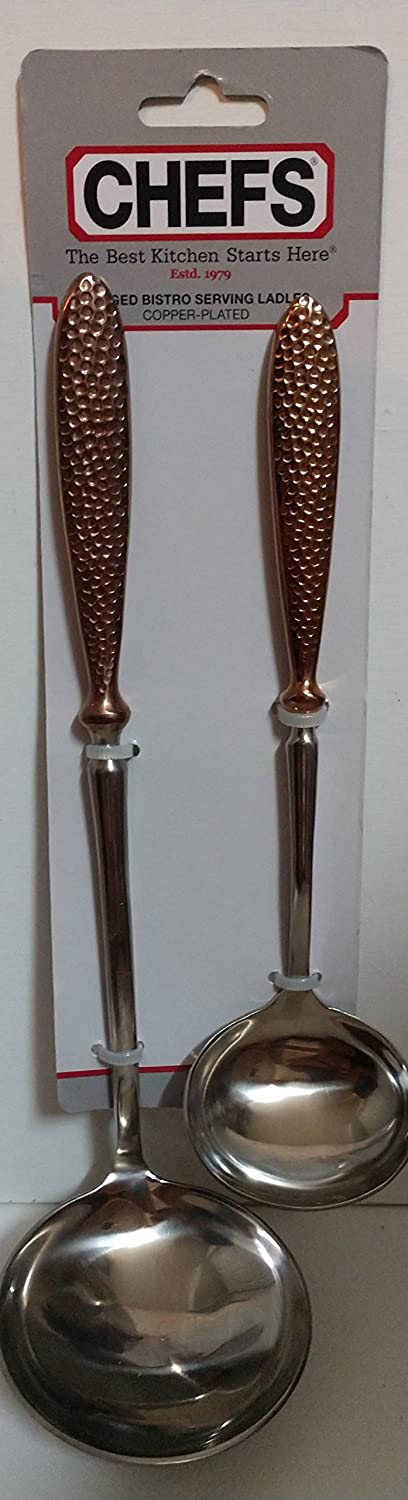 CHEFS BISTRO HAMMERED COPPER-PLATED SERVING LADLES