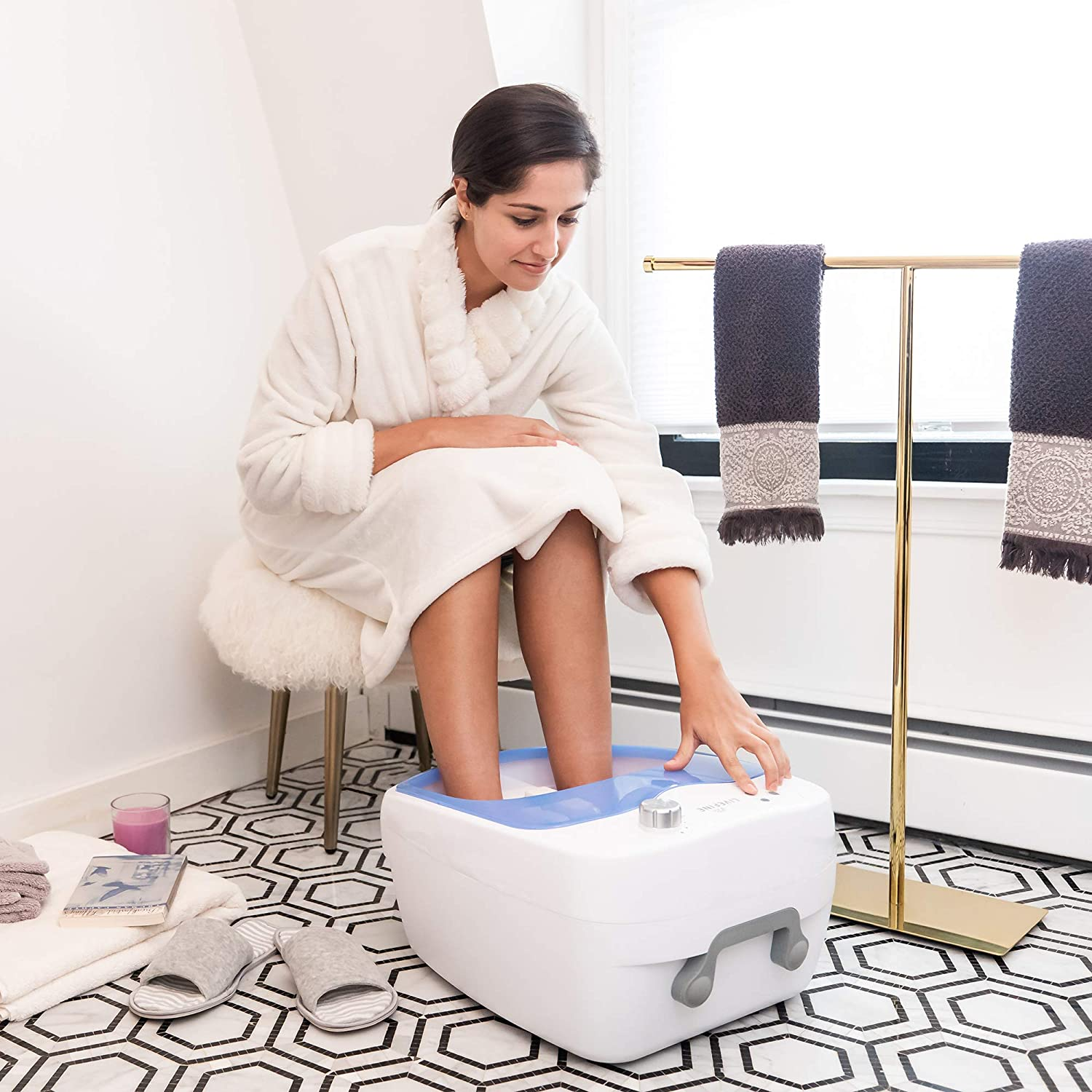 Amazon Com Livefine Foot Spa W Adjustable Speed Aqua Air Jets Home Heated 108 Bath Massage Rollers Bubbles Pumice Stone Health Personal Care