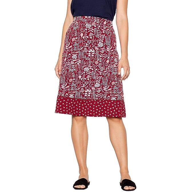 Mantaray Womens Navy Geometric Print A-Line Knee Length Skirt