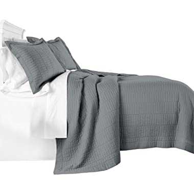 Chezmoi Collection Yuma 3-Piece Modern Stitched Pattern 100%-Cotton Pre-Washed Soft-Finished Quilt Set (King, Paloma Gray)