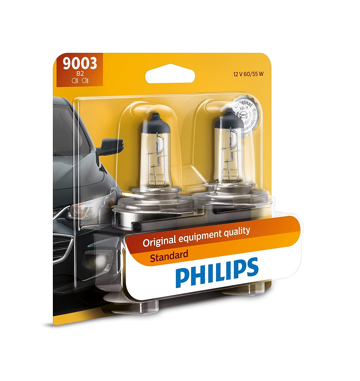 Philips 9006 Standard Halogen Replacement Headlight Bulb, 2 Pack 9006B2