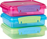 Sistema Lunch Sandwich Box, 450 ml-Assorted Colours with Contrasting Clips, Pack of 3, 1.55 x 15 x 12.4 cm