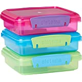 Sistema Lunch Collection Food Storage Containers, 1.9 Cup, 3 Pack, Blue/Green/Pink | Great for Meal Prep | BPA Free, Reusable