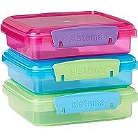 Sistema Fiambrera para sándwiches, 450 ml, colores surtidos con clips de contraste, 3 unidades, 1,55 x 15 x 12,4 cm