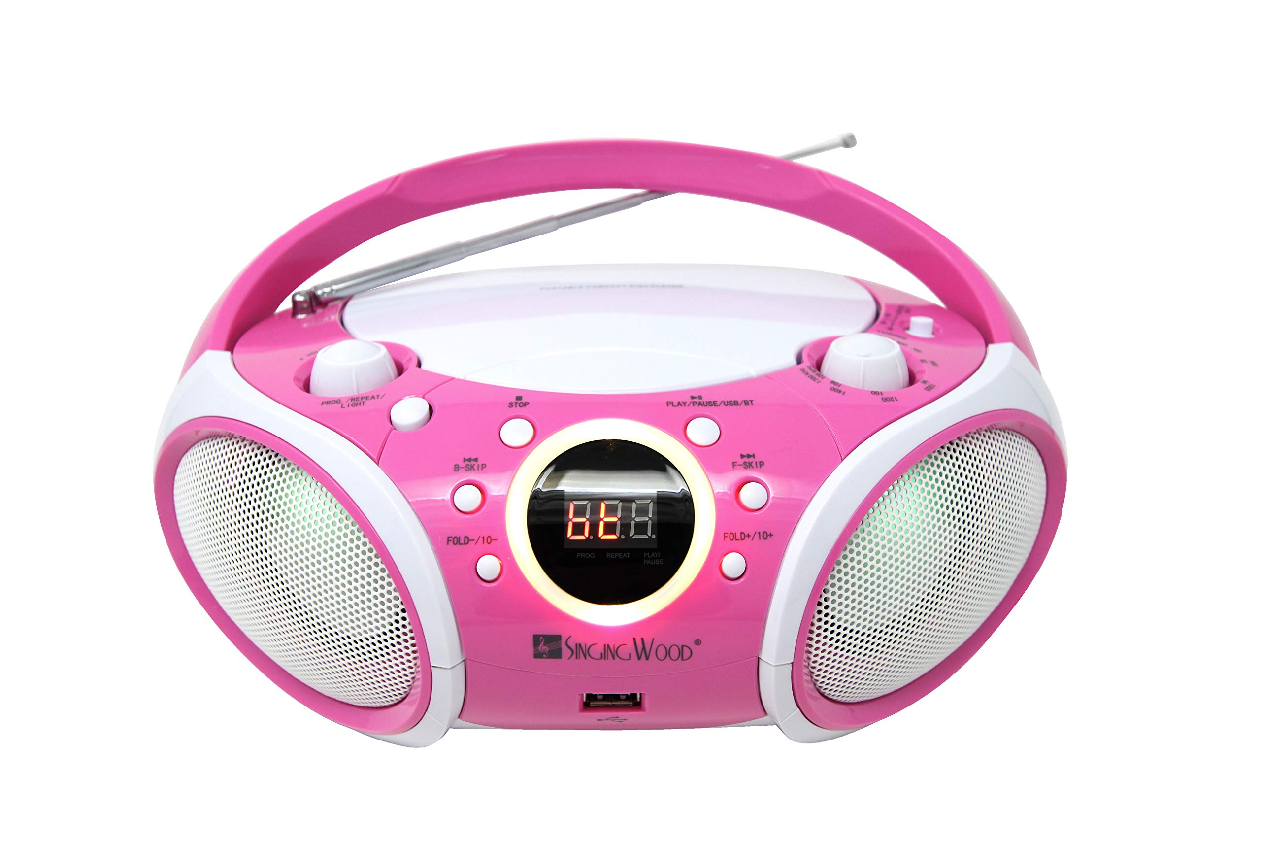 SINGING WOOD, CD Player Boombox CD/CD-R/CD-RW, Portable w/Bluetooth, USB, AM/FM Radio, AUX-Input, Headset Jack, Foldable Carrying Handle and LED Light (Kitty Pink) by SINGING WOOD