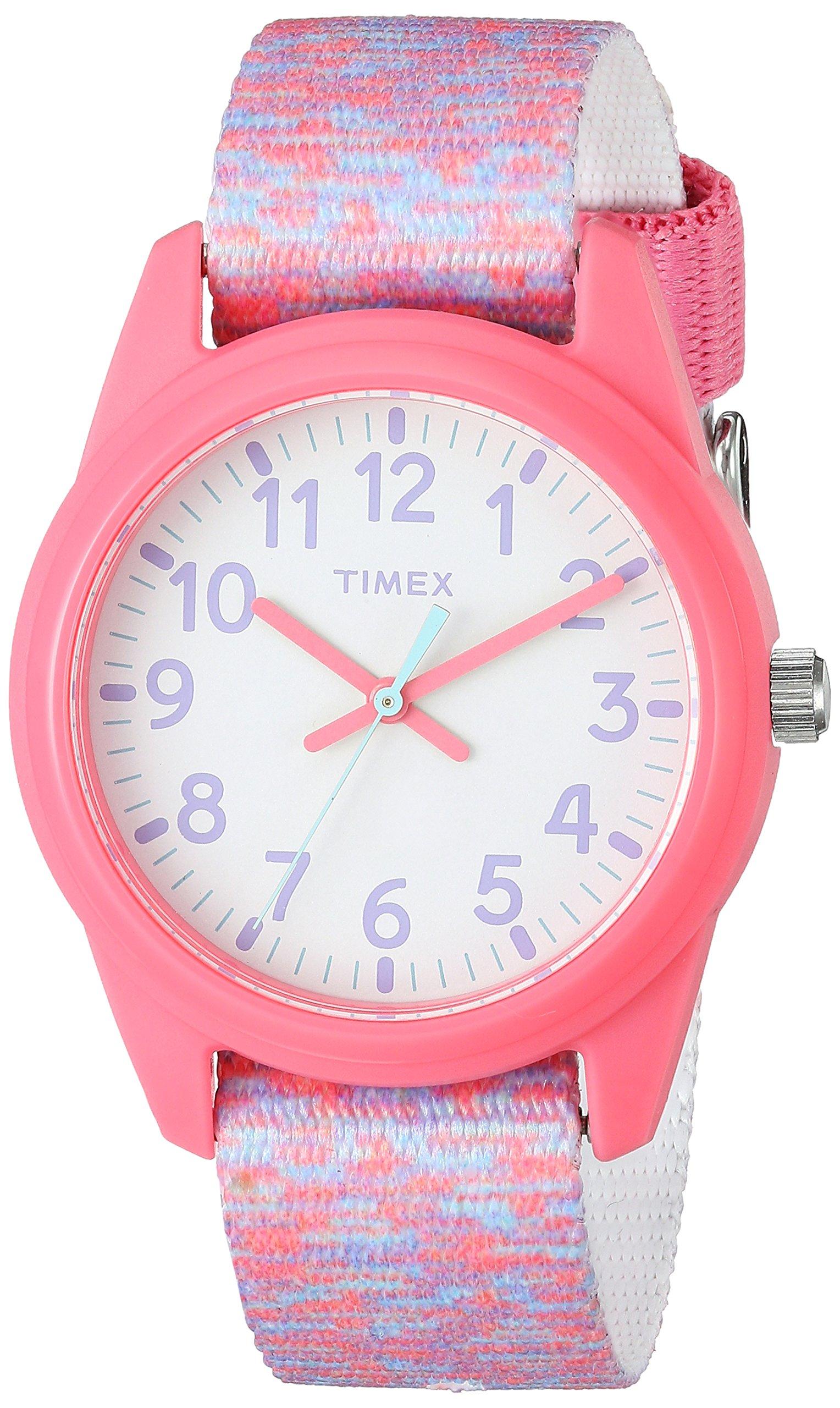 Timex Girls TW7C12300 Time Machines Pink/White Sport Elastic Fabric Strap Watch